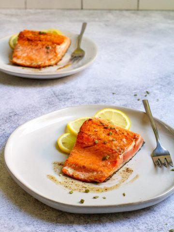 copper river salmon on plates.