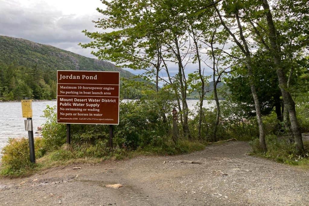 Jordan Pond Information Sign.
