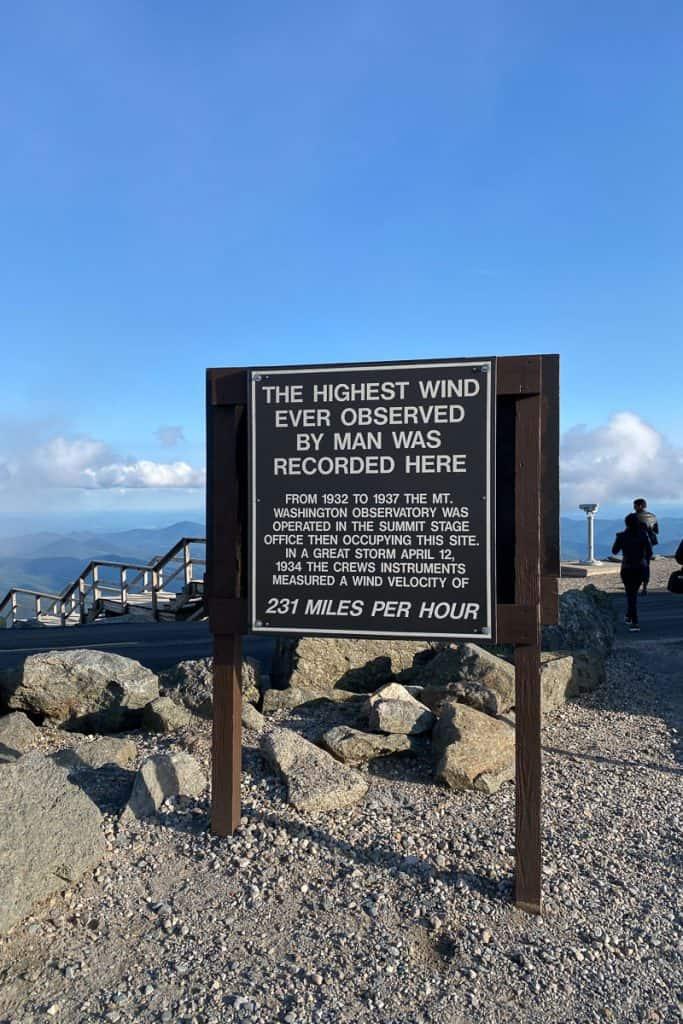 Mount Washington Wind Record Sign.