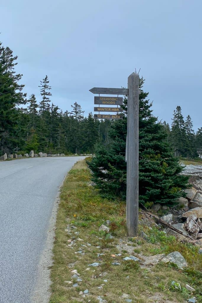 Sign for the Bicycling Paths on the Schoodic Peninsula