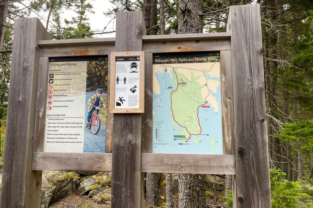 Bicycling information sign for Schoodic Peninsula.