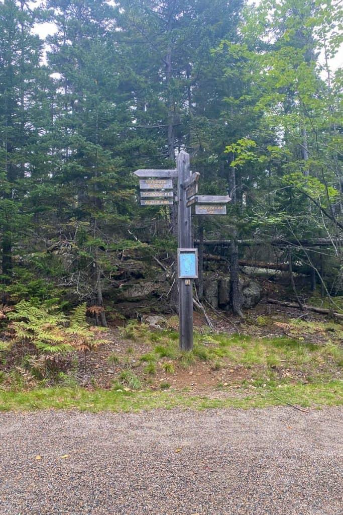 Schoodic Point Bike Path Signs.