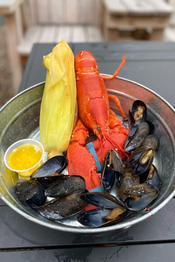 Lobster Dinner with Corn, Mussels + Butter
