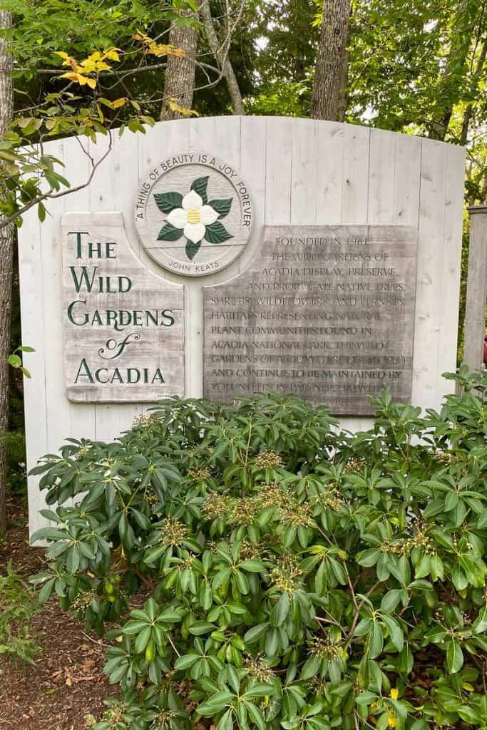 Wild Gardens of Acadia sign.